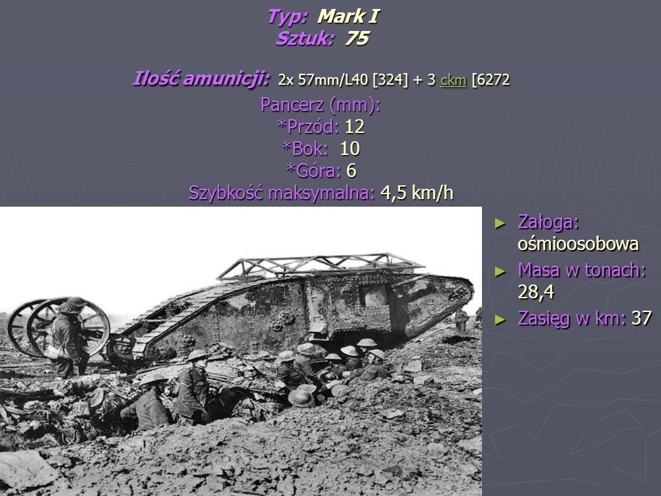 Typ: Mark I Sztuk: 75 Ilość amunicji: 2x 57mm/L40 [324] + 3 ckm [6272 Pancerz (mm): *Przód: 12 *Bok: 10 *Góra: 6 Szybkość maksymalna: 4,5 km/h